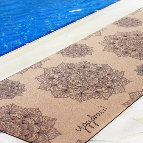 Anti-slip cork yoga mat with print Work of Art mandala