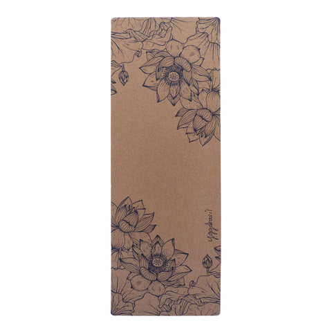 Anti-slip cork yoga mat with print Pure beauty