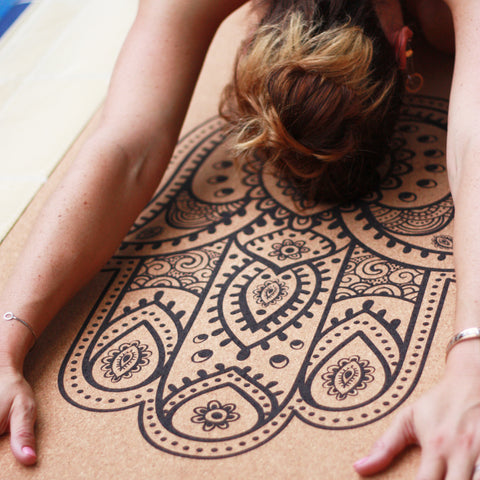 Anti-slip cork yoga mat with print The Essence of Yoga closeup