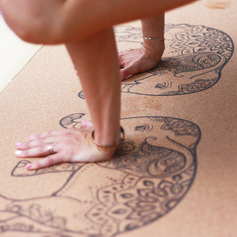 Anti-slip cork yoga mat with print The Harmonious Mind elephants