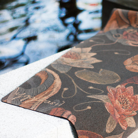 Non slip / Anti-slip cork yoga mat with print Yellow river koi fish | Yogamatta kork med tryck | Yggdrasil by Sweden