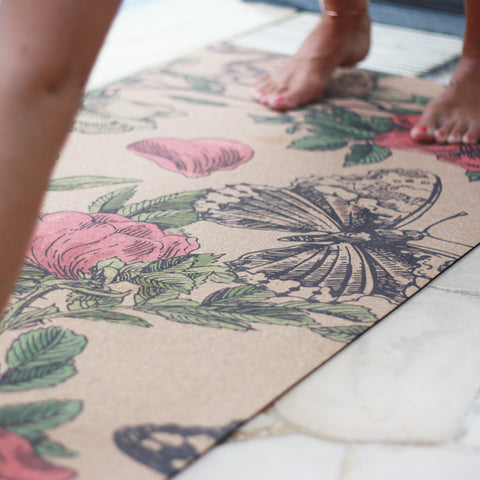 Anti-slip cork yoga mat with print True Wonder of Nature Flowers and butterflies