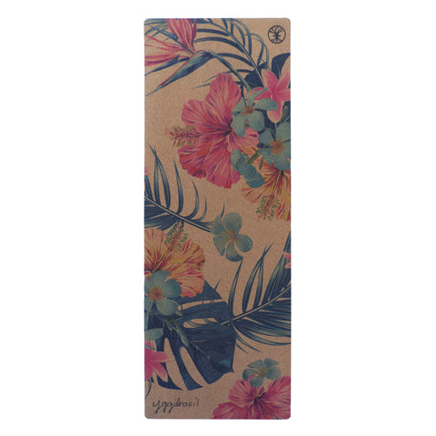 Anti-slip cork yoga mat with print Tropical Tranquility palm leaf and flowers