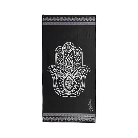 Microfiber sport and yoga towel with print The essence of yoga hamsa hand sign black and white