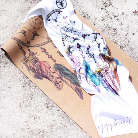 Microfiber sport and yoga towel white & cork yoga mat with print Dreamers Search dream catcher