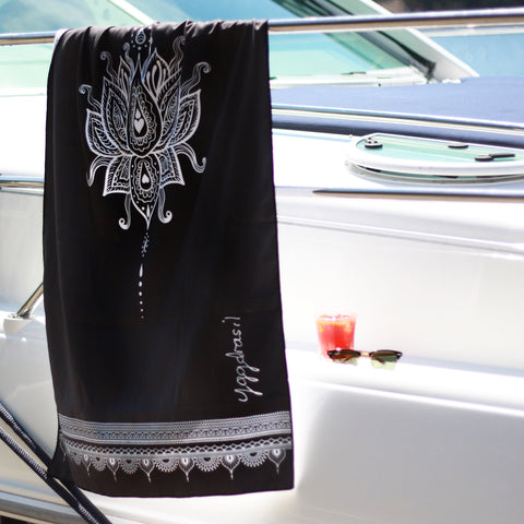 Microfiber sport and yoga towel with print Inner Divine Lotus flower black & white  | Yggdrasil by Sweden / mikrofiber handduk med tryck