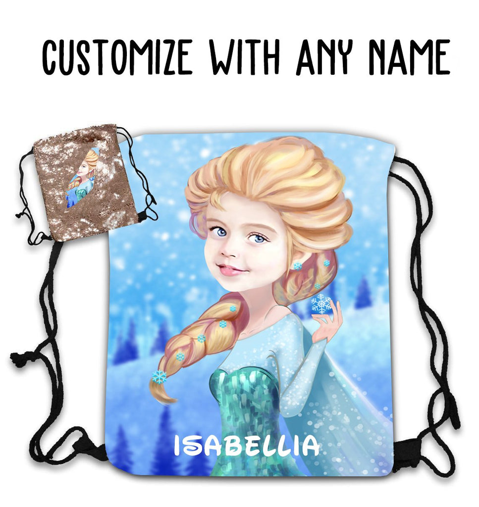 Personalized Hand-Drawing Kid's Portrait Sequin Drawstring Bag II-BUY 2 SAVE 10%