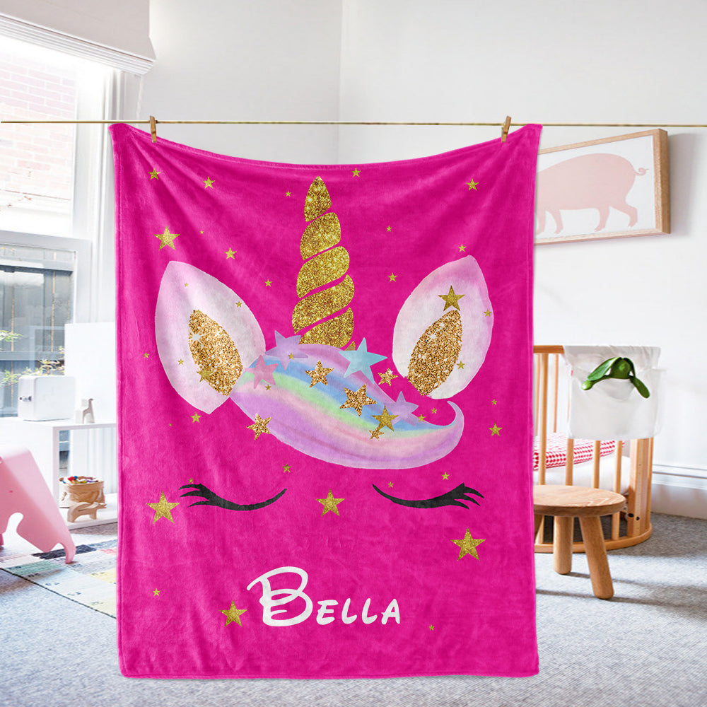 Custom Star Unicorn Fleece Blanket Passion Pink