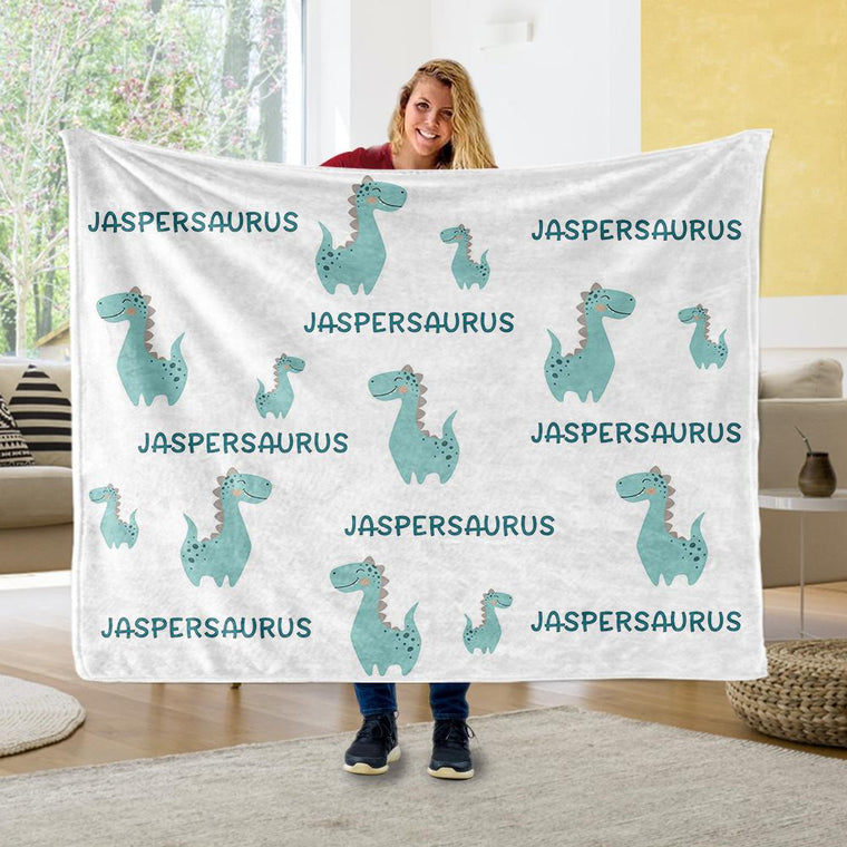 Personalized Name Dinosaur Fleece Blankets - BUY 2 GET 10% OFF