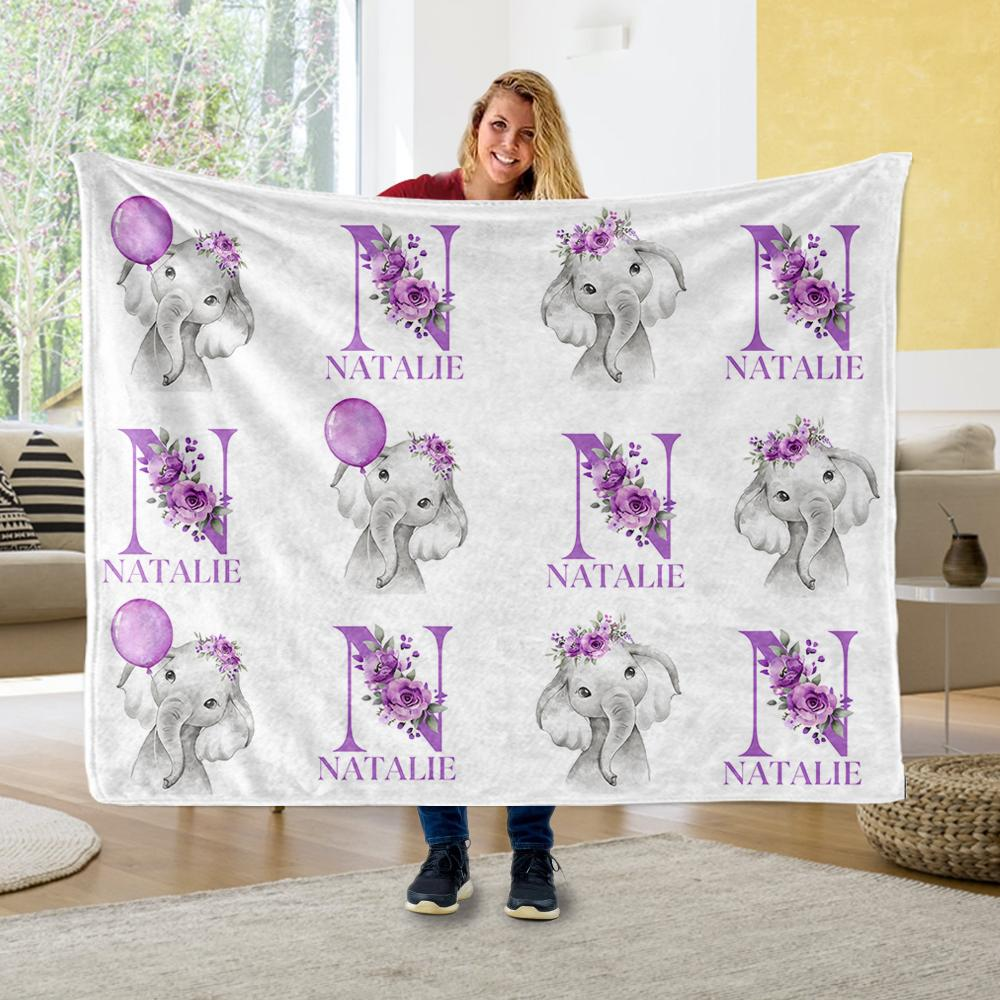 Customized Initial & Name Purple Floral Elephant Fleece Blankets - BUY 2 GET 10% OFF