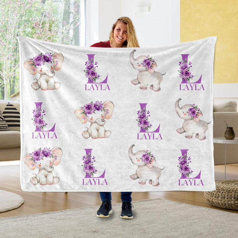 Customized Name Cute Floral Elephant Blankets - BUY 2 GET 10% OFF