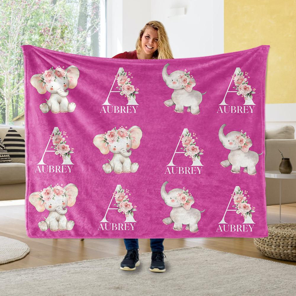 Customized Name Cute Floral Elephant Blankets Passion Pink - BUY 2 GET 10% OFF