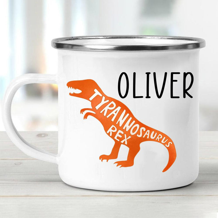 Custom Name Dinosaur Children's Enamel Campfire Mug V
