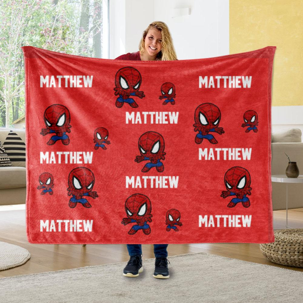 Personalized Name Cozy Plush Fleece Blankets for Boys I