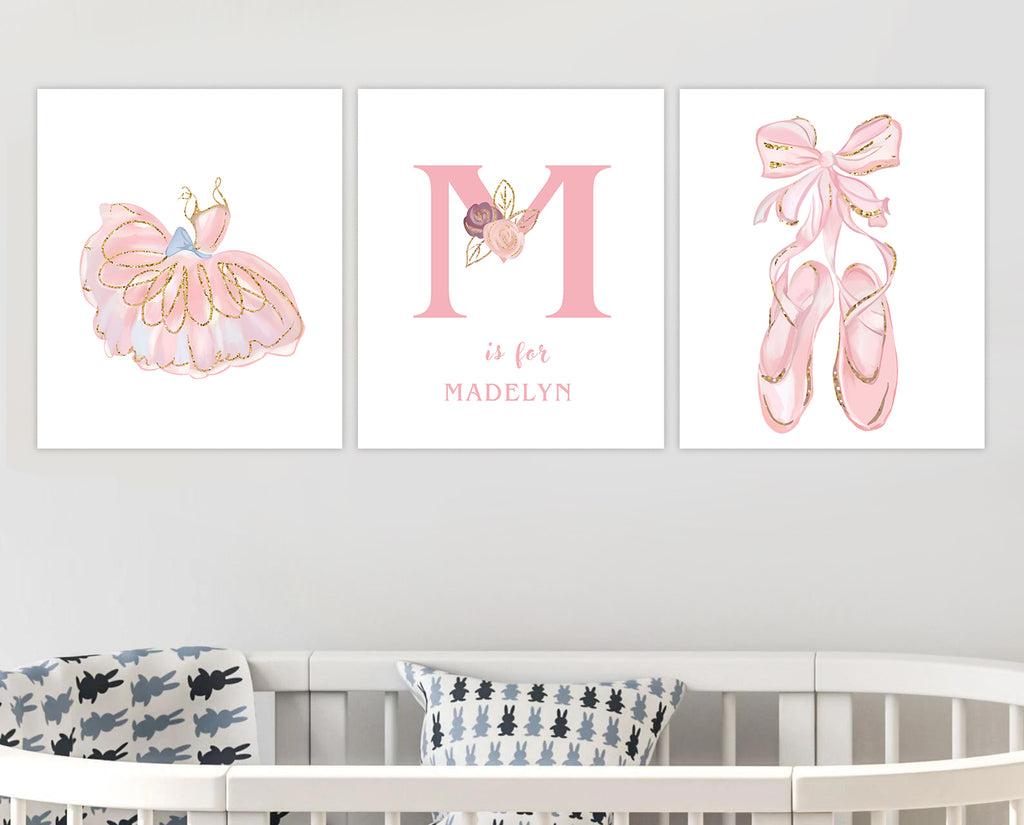 Personalized Initial & Name Girls Bedroom Canvas Wall Art