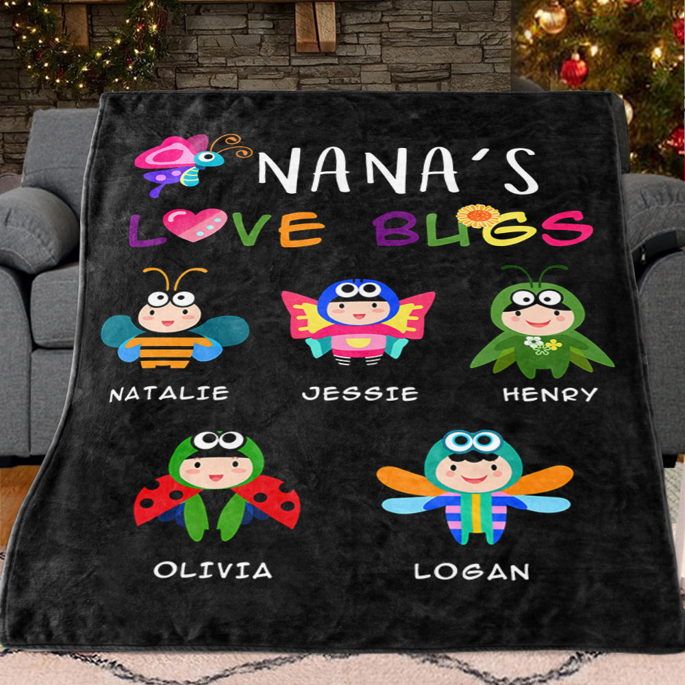 NANA'S LOVE BUGS Custom Grandparent Blanket
