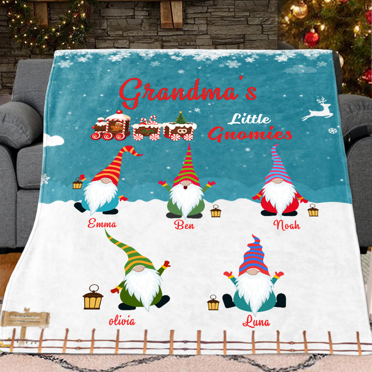 Custom Gnomies Grandparent Fleece Blanket with Kids' Names