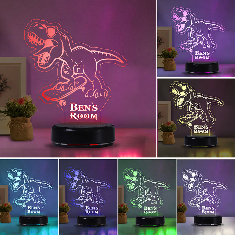 Custom Name Skateboard Dinosaur Acrylic Night Light