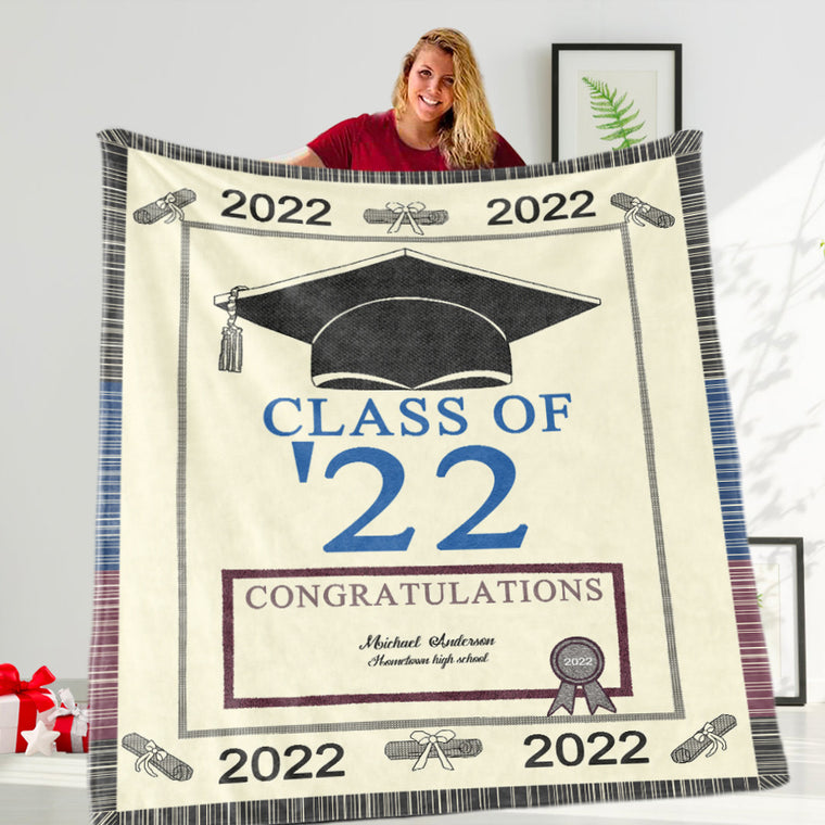 Custom Name And School Name Graduation Fleece Blanket
