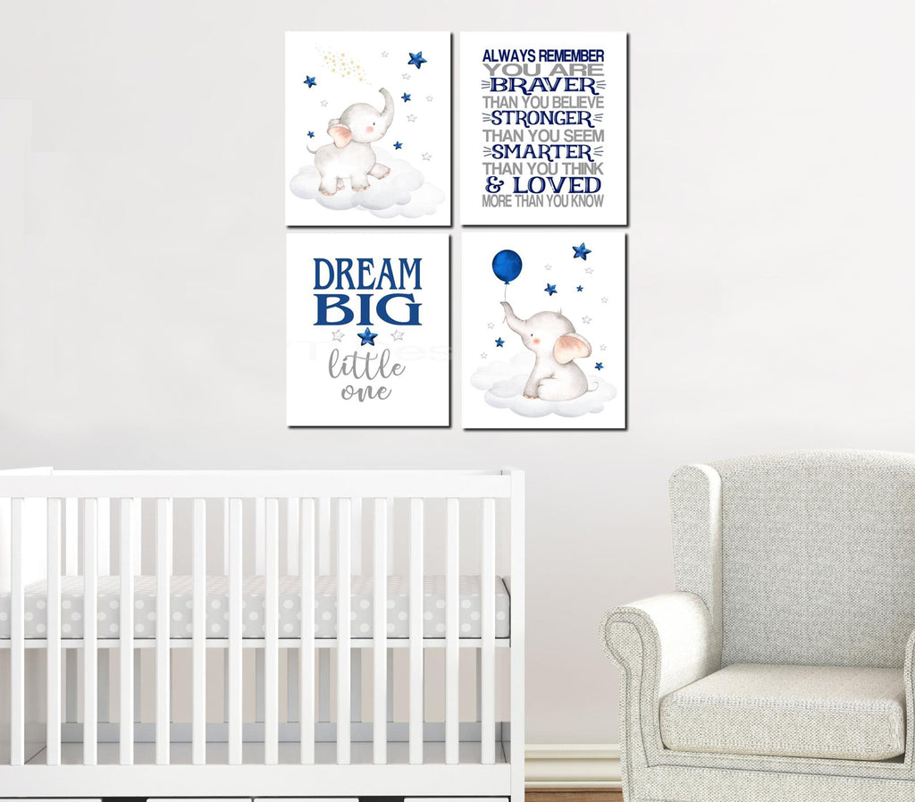 Baby Elephant Wall Art, 4 Piece Set Canvas Print, Baby Nursery Wall Art