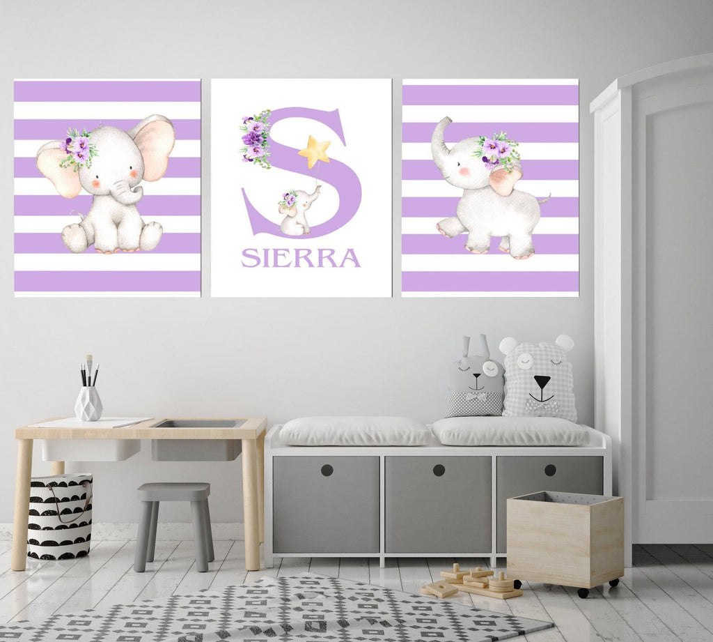 Personalized Initial & Name Baby Elephant Wall Art, Baby Girl Nursery Wall Art, 3 Piece Set Canvas Print