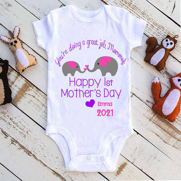 Mother's Day Elephant Celebrate Infant Fine Jersey Bodysuit