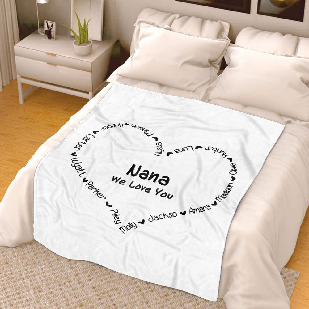 Personalized White Heart-shaped Nickname and Kids Name Fleece Blanket Made in USA