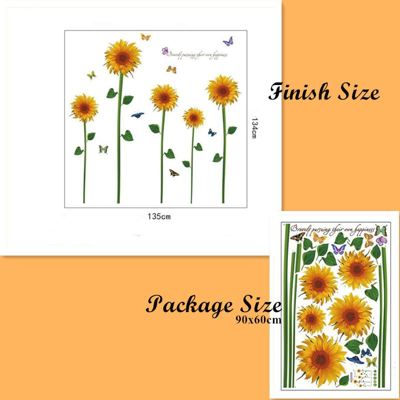 Removable Sunflowers Decals Home Decoration Flower Wall Stickers Wall Art Decal 02