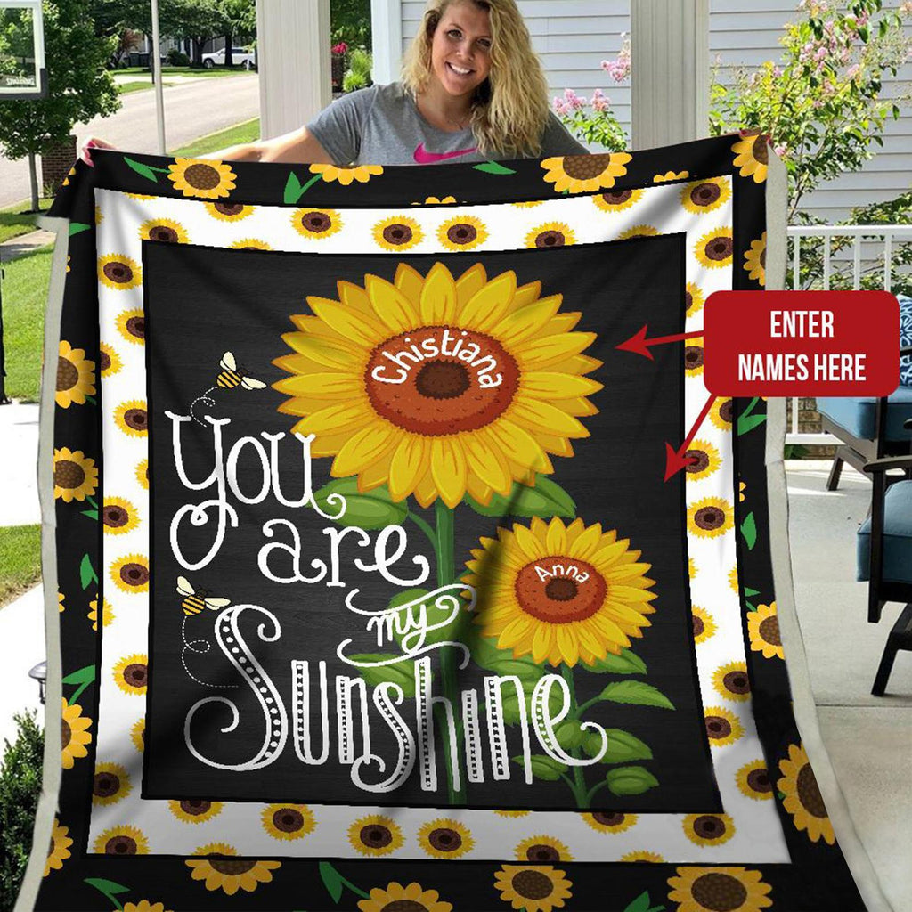 Personalized Name Couple Blanket, Sunflower Blanket, Valentine's Day Romantic Gift, Birthday
