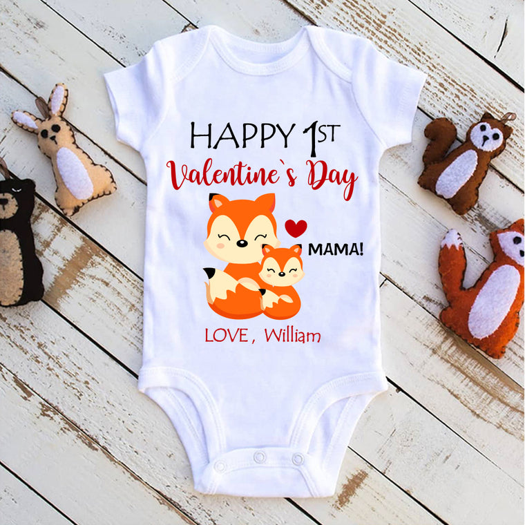 Custom Name Fox Valentine's Day Baby Onesie, Mom Shirt, Fleece Blanket