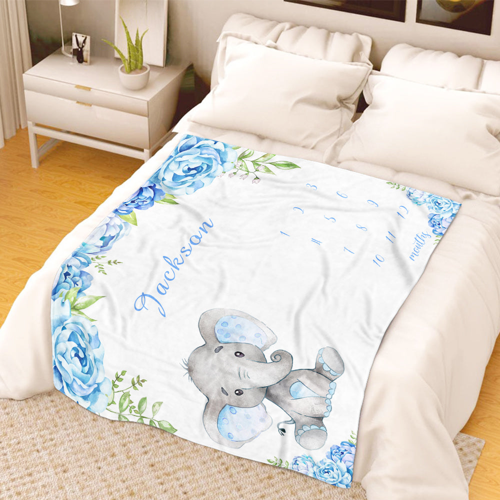 Personalized Name Baby Boy Elephant Fleece Blankets with Blue Flowers Milestone Blanket
