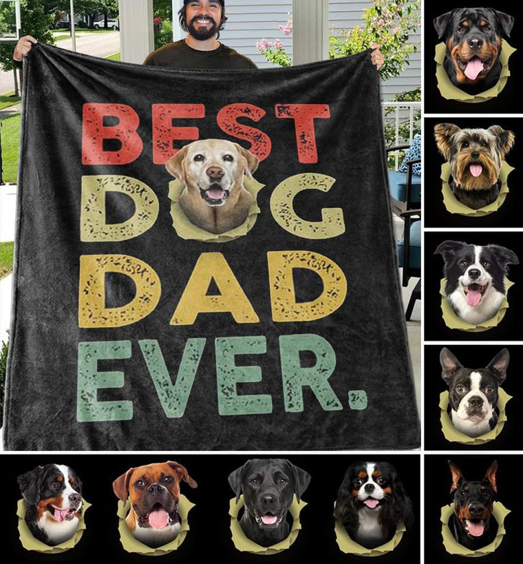 BEST DOG DAD EVER Custom Photo Fleece Blankets - Perfect Birthday Holiday Gifts for Dad Uncle & Grandpa