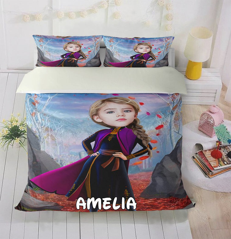 Personalized Hand-Drawing Kid's Photo Portrait Cozy Microfiber Bedding Set XVII