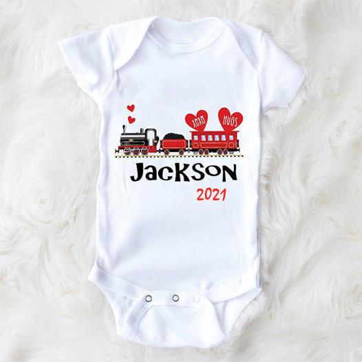Personalized Name Baby Boy Valentine's Day Onesie