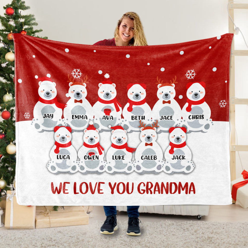 Personalized Christmas Polar Bear Blanket with Children's Names
