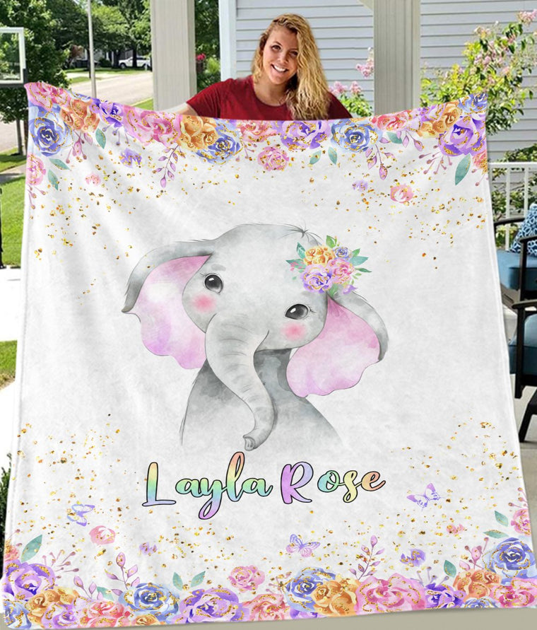 Personalized Name Baby Elephant Fleece Blankets with Rose Flowers