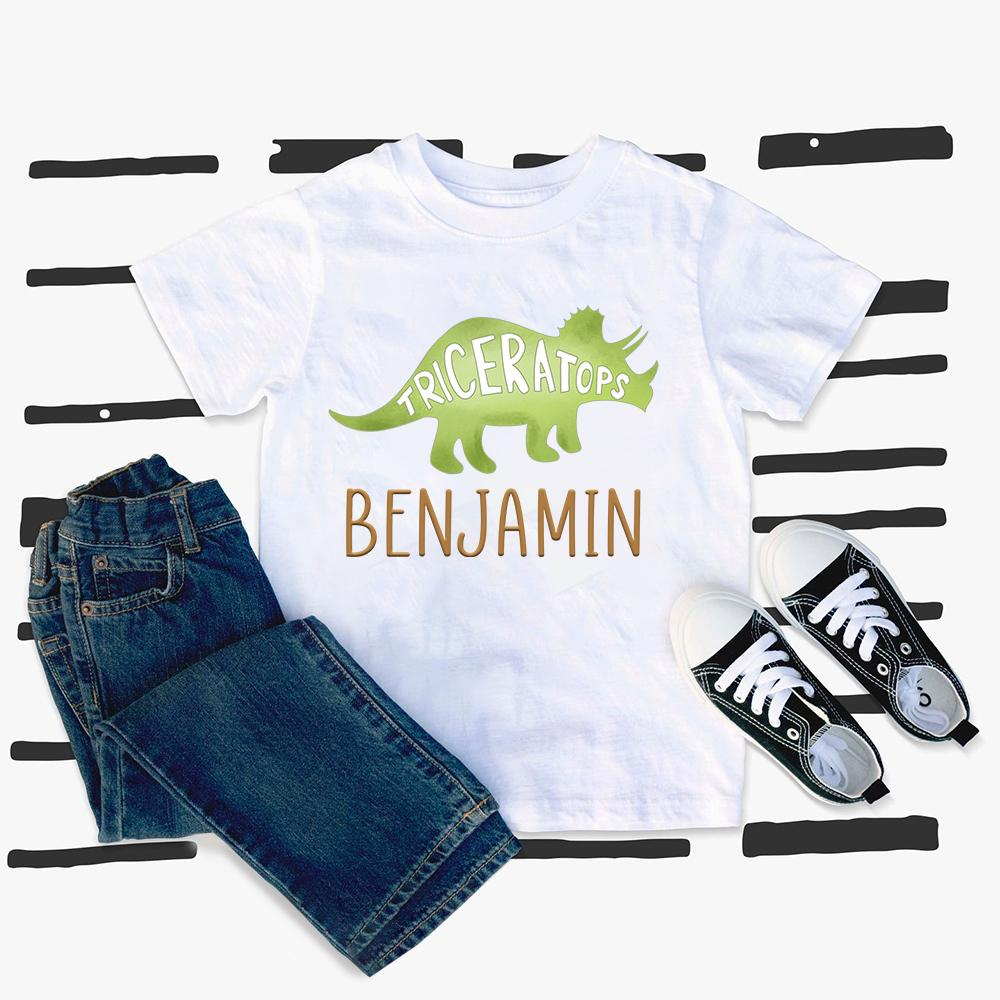 Custom Name Dinosaur Kids Heavy Cotton Tee V