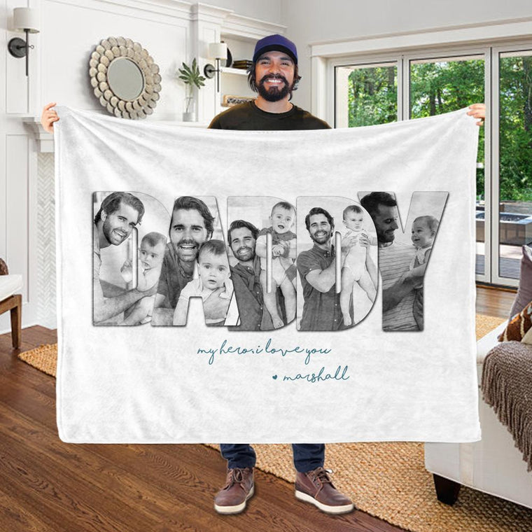 Customizable Father's Day Photo Collage Fleece Blanket-BUY 2 SAVE 10%