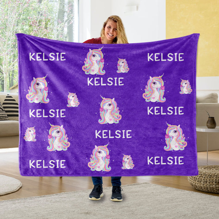 Custom Name Unicorn Blankets Purple