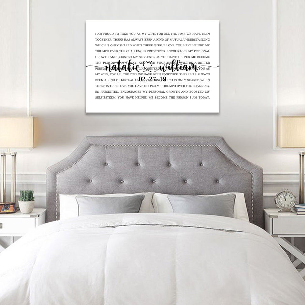 Custom Song Lyrics on Canvas Wall Art, Personalized His and Hers Wedding Anniversary Gift