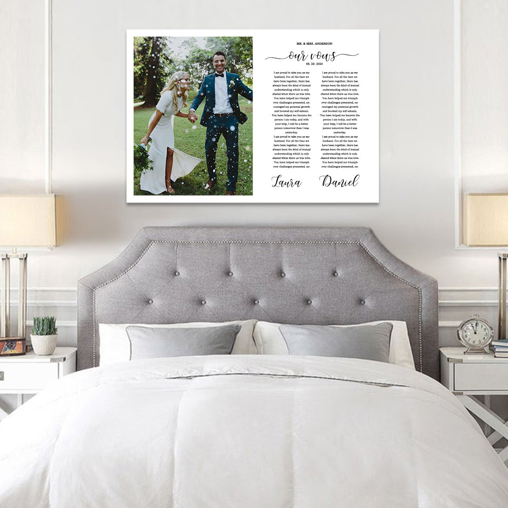 Custom Framed Wedding Vows Canvas, Master Bedroom Above Bed Signs, His and Hers Wedding Gift