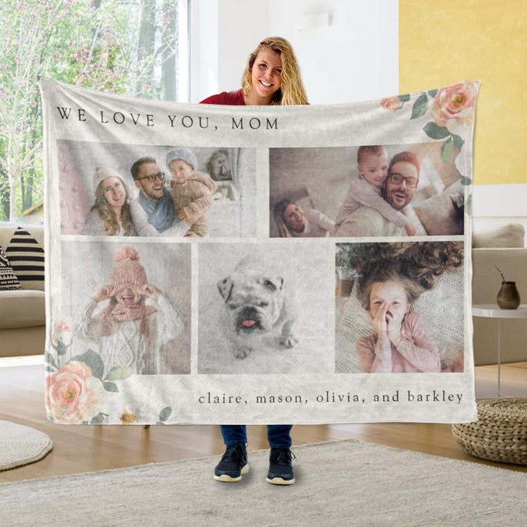 Personalized Multi Photo Grid for Mother with Peach Flowers Fleece Blanket