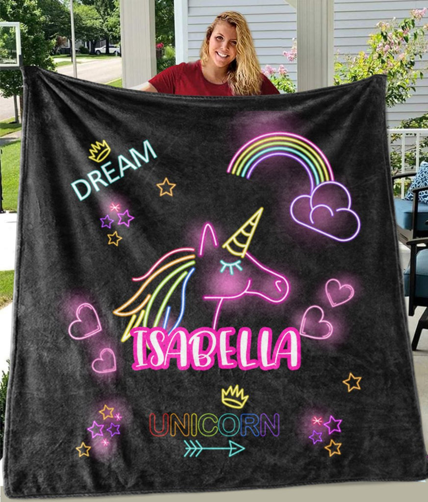 Custom Name Magical Unicorn Cozy Plush Fleece Blanket IX