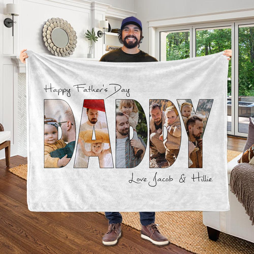 Personalized Father's Day Photo Collage Fleece Blanket