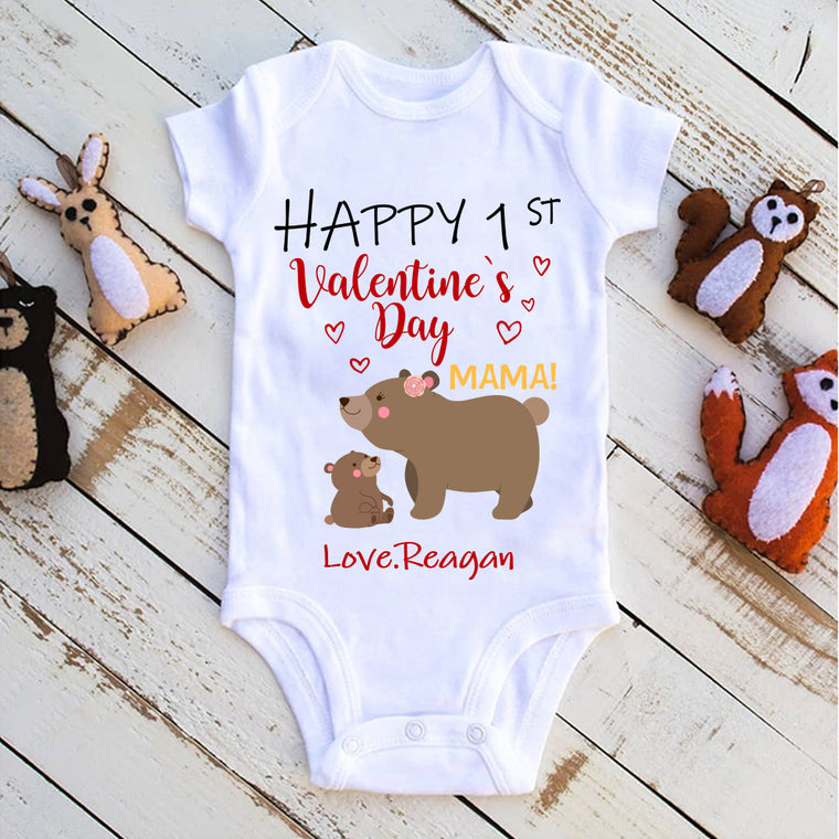 Custom Name Bear Mama and Baby Cub Valentine's Day Baby Onesie, Mom Shirt, Fleece Blanket