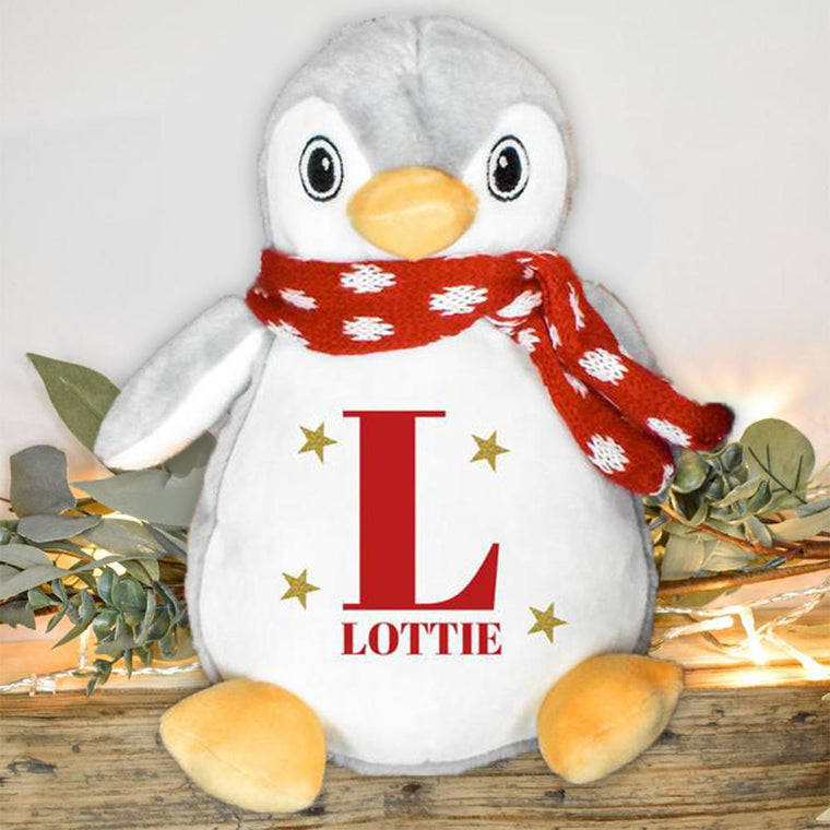 Personalized Starry Penguin Teddy with Name, Custom Child Christmas Gift