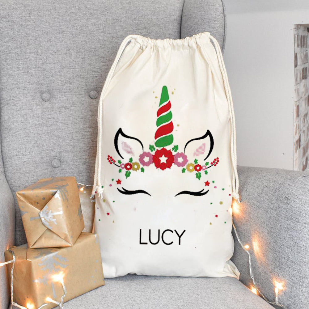 Personalized Unicorn Santa Sack With Name, Child's Christmas Gift Sack