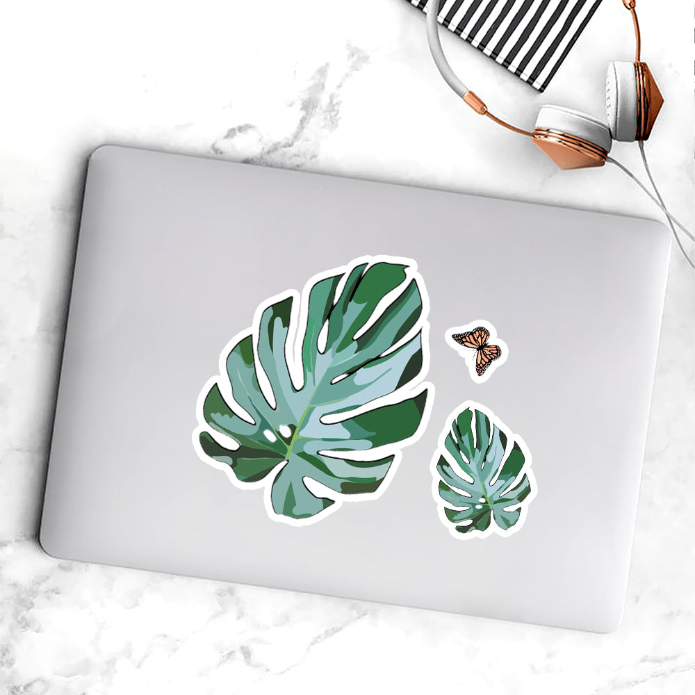 Monstera Leaf Kiss-cut Stickers, Laptop Stickers, Positive Stickers, Trending Stickers--made In Usa