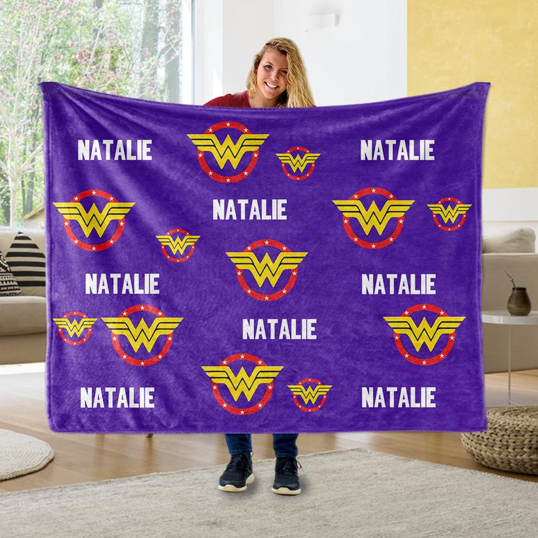 Personalized Name Cozy Plush Fleece Blankets for Kids VIII