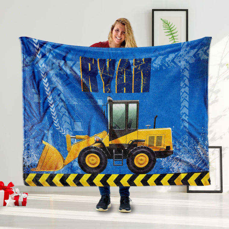 Personalized Truck Name Blanket, Truck Name Blanket, Truck Bedding, Boy Blanket Dinosaur Name Blanket Toddler Blanket